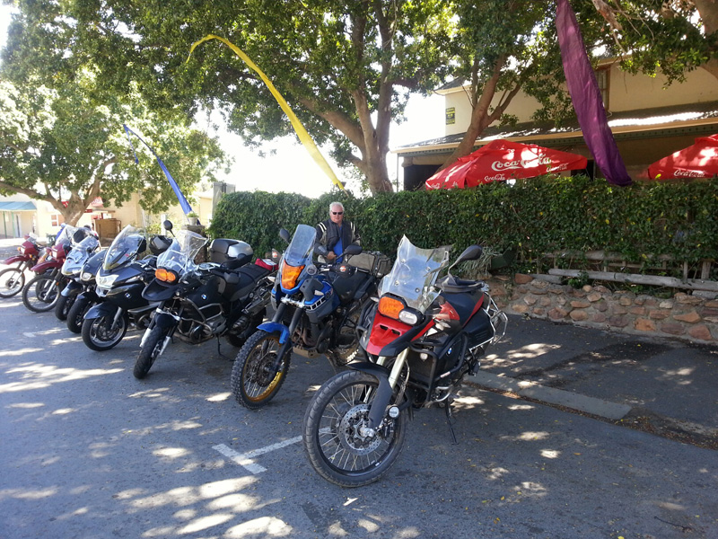 Motorbikes parked at a Cafe for some refreshment
