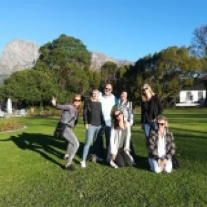 Winelands tour guests posing